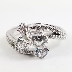 Platinum & Sterling Diamonique 2.15 tw Wrap Ring